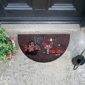 Megan Kapı Paspası Yarımay Kahve Home Sweet Home Kedi