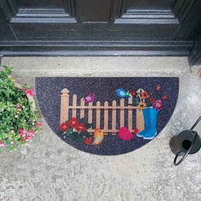 Megan Kapı Paspası Yarımay Gri Bahçe