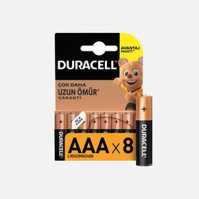 Duracell 8'li Alkalin AAA İnce Kalem Pil
