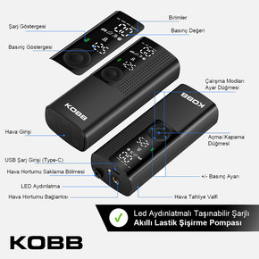 KB410 Şarjlı Li-ion 120 PSI Taşınabilir Dijital Basınç Göstergeli Led Aydınlatmalı Akıllı Lastik Şişirme Pompası