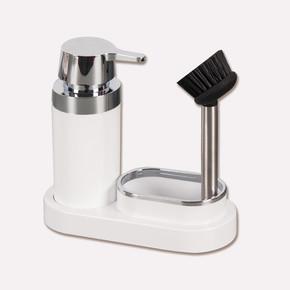 Polen Mutfak Seti Beyaz Sıvı Sabunluk-Fırça
